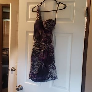 Purple animal print party dress